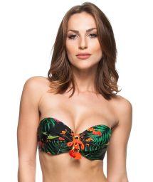 Tropical pattern bandeau top with orange tassel detailing - SOUTIEN DON JUAN