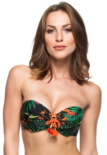 Tropical pattern bandeau top with orange tassel detailing - SOUTIEN DON JUAN