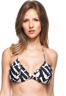 Black and white triangle top with wavy edges - SOUTIEN DUAS PEROLAS