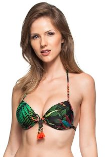 Black floral push-up bikini top with orange tassels - SOUTIEN EUFRATES