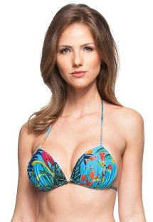 Blue padded triangle top with plant theme print - SOUTIEN FLAMBOYANT AZUL