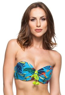 Blue padded bandeau top plant theme print with tassels - SOUTIEN FLORIANOPOLIS