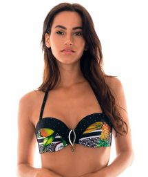 Tropical/polka dot print bandeau top with cups - SOUTIEN FRUTAS GRINGA