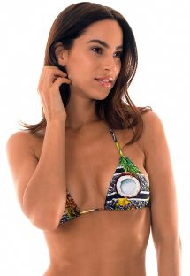 Tropical print sliding triangle top - SOUTIEN FRUTAS LACINHO