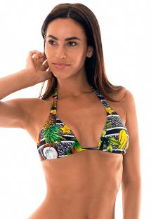 Tropical print sliding halterneck triangle top - SOUTIEN FRUTAS TROPICAL
