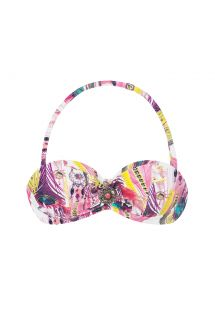 Pink printed bandeau top with underwires - SOUTIEN HIPPIE PINK