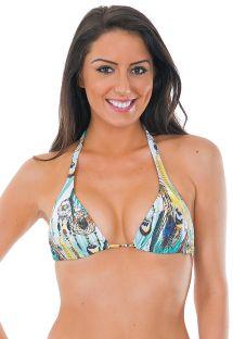 Haut de bikini triangle foulard imprimé plumes - SOUTIEN HIPPIE TURQUESA