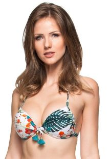 White tropical push-up top with blue tassels - SOUTIEN ILHAS DA BAIA