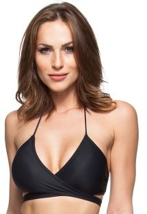 Black cross-over sports-bra style swimsuit top with tassels - SOUTIEN ILHAS VIRGENS