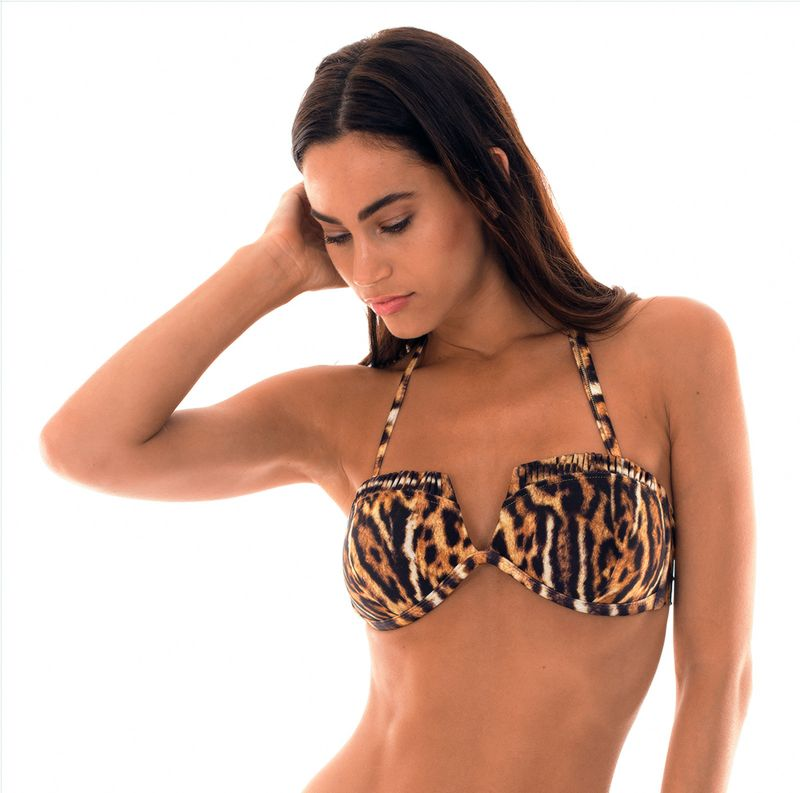 Padded, animal print bandeau bikini top with v-shaped cut - SOUTIEN JAGUATIRICA QUADRADO