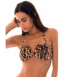 Padded, animal print bandeau bikini top with v-shaped cut - SOUTIEN JAGUATIRICA QUADRADO