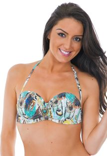 Feather-print cup balconnet bikini top - SOUTIEN JOIA HIPPIE
