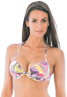 Balconette push-up bikini-top med pink mønster - SOUTIEN JOIA HIPPIE PINK