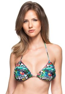 Cuba-print triangle top with ruched edges - SOUTIEN LAGOA PROTEGIDA
