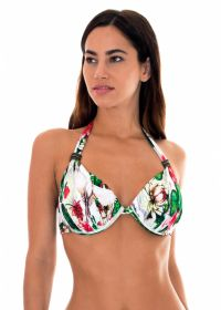 Full-coverage water lily print triangle top - SOUTIEN LOTUS CARIBBEAN