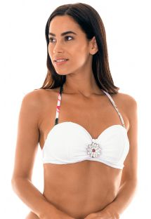 White underwired bandeau top with waterlily detail - SOUTIEN LOTUS DRAPEADO