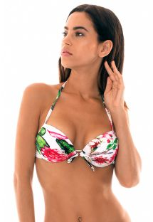 Waterlily-printed underwired push-up top - SOUTIEN LOTUS PACIFICO