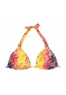 Yılan derisi baskılı, aksesuarlı üçgen bikini üstü - SOUTIEN MINI COBRA COLOR