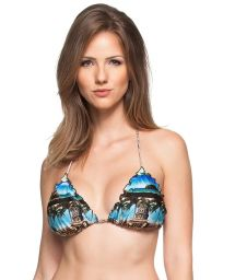 Triangle top in a Cuba inspired print with lettuce edging - SOUTIEN OLIVIEIRA
