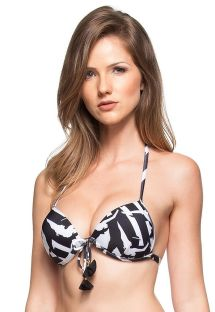 Black and white push-up top with tassels - SOUTIEN PEQUENA ILHA