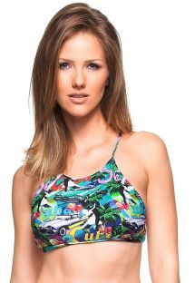 Multicoloured Cuba-print cross-back crop top bikini top - SOUTIEN PINHEIRO