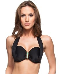 Black balconette top with green stone detail - SOUTIEN PRAIAS PARADISIACAS