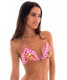 Pink gingham and floral print triangle bikini top - SOUTIEN RAMALHETE VICHY