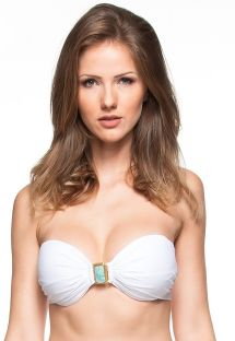 White bandeau top adorned with a green jewel - SOUTIEN RIVIERA MAIA