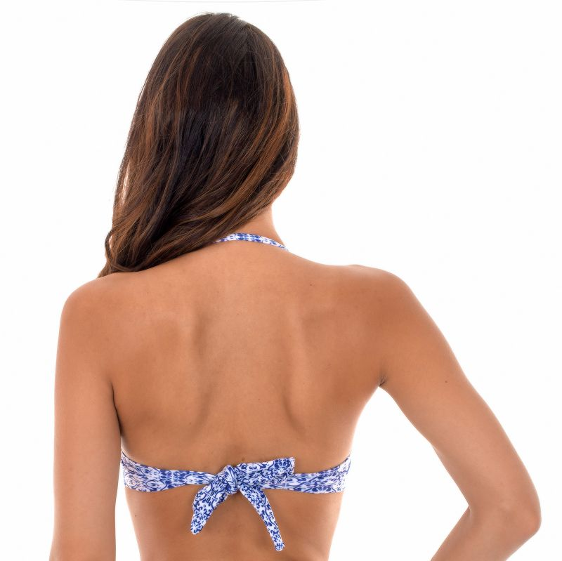 Padded printed bandeau top in shades of blue - SOUTIEN SABIA GRINGA