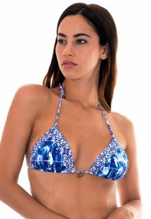 Triangle bikini top in mixed blue/white prints - SOUTIEN SABIA LACINHO