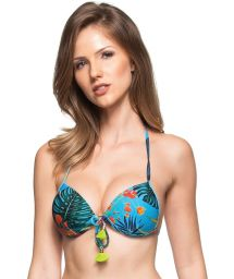 Blue push-up top with plant theme print and tassels - SOUTIEN SUL DA INDIA