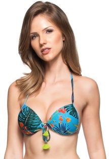 Top push-up azul con estampado vegetal y borlas - SOUTIEN SUL DA INDIA