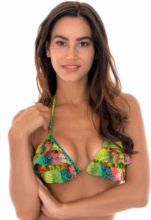 Tropical triangle bikini top with frills and pompons - SOUTIEN TERRA BABADINO