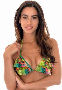 Püsküllü ve fırfırlı tropikal desenli üçgen bikini üstü - SOUTIEN TERRA BABADINO