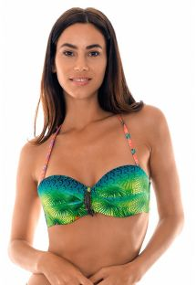 Padded tropical bandeau top with leaf detailing - SOUTIEN TERRA DRAPEADO
