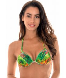 Padded tropical triangle bikini top with pompons - SOUTIEN TERRA TIRAS