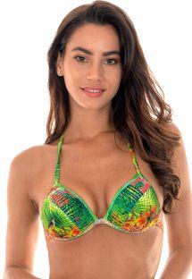 Püsküllü tropikal desenli yastıklı üçgen bikini üstü - SOUTIEN TERRA TIRAS