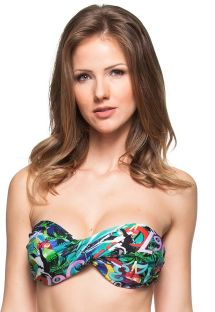 Multicoloured Cuba-print twisted bandeau top - SOUTIEN TOMILHO