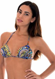 Blue tribal print padded triangle bikini top - SOUTIEN TRIBAL DRAPEADO