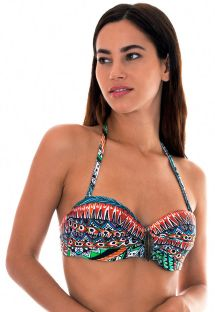Ethnic colour bandeau top with leaf detail - SOUTIEN TRIBAL FAIXA