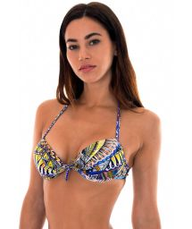 Blue ethnic-patterned push-up bikini top with tie - SOUTIEN TRIBAL NATIVO