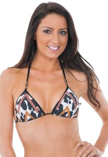 Haut de bikini triangle imprimé bords noirs - SOUTIEN VAQUINHA MIX