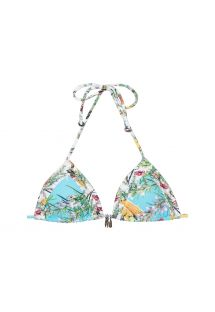 Blue floral print sliding triangle bikini top with removable pads - SOUTIEN VEGAN CORACAO