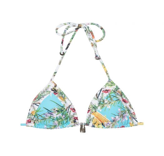 27fccd5bf8 Blue Floral Print Sliding Triangle Bikini Top With Removable Pads - Soutien  Vegan Coracao - La Playa