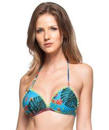 Tropisch blaues Bikinioberteil mit Troddeln - TOP AGUA DO MAR