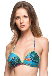 Tropical blue bikini top with tassels - TOP AGUA DO MAR