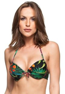 Top push-up con aros negro en estampado tropical - TOP AGUAS DE CUBA