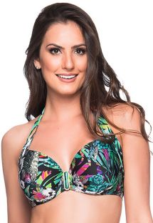 Accessorized colorful floral balconette top - TOP ALÇA ATALAIA