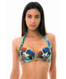 Accessorized balconette top with Cuban print - TOP ANGUILHA