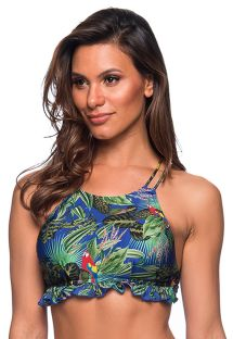 Wavy crop top in colorful tropical print - TOP BABADINHO ARARA AZUL